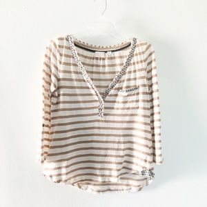 Anthropologie | Striped Henley Top Size Medium